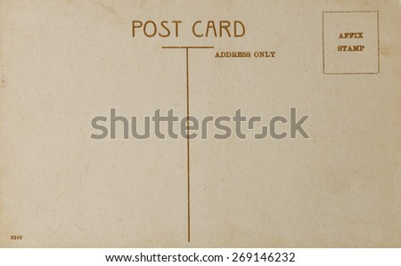 Old Postcard, backside of vintage style post card. - stock photo
