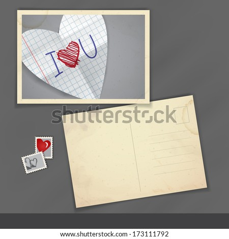Old Postcard Design, Template. Happy Valentines Day
