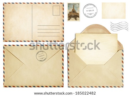 Old postcard, mail envelope, open letter, stamp collection - stock photo