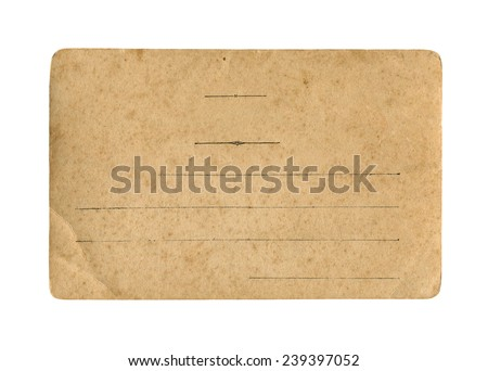 Old postcard on white background - stock photo