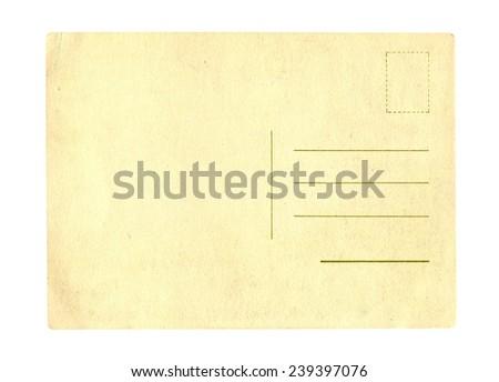 Old postcard on white background - stock photo