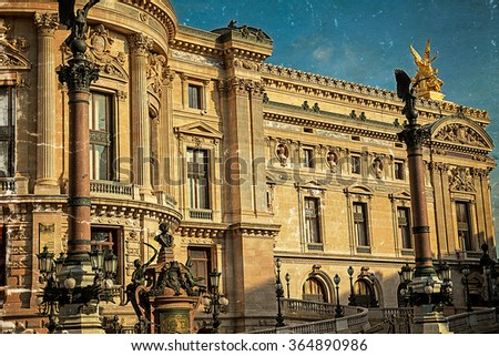 Old postcard with architectural details of Opera National de Paris: Front Facade. Grand Opera (Garnier Palace) is famous neo-baroque building in Paris, France. Vintage processing. - stock photo