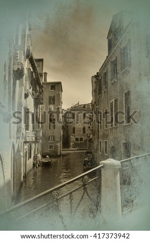Old postcard with view of Venice - stock photo