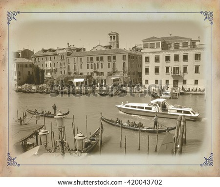 Old postcard with view of Venice, Italy - stock photo