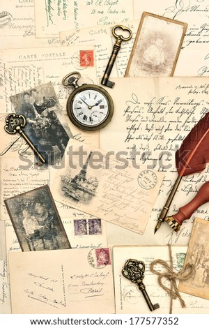 old postcards, letters and photos. nostalgic vintage background