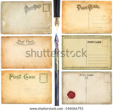 Old postcards set - stock photo