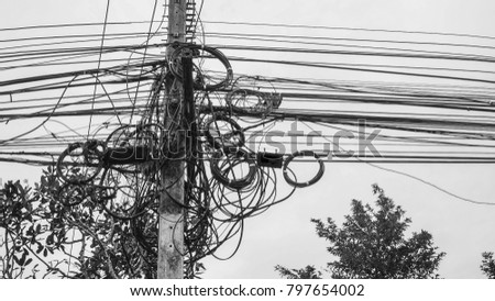 Old Power Line Pole On Sky Stock Photo (Royalty Free) 797654002 ...