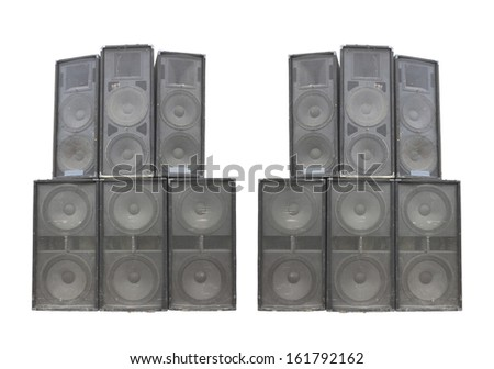 concert stage speakers. old powerful stage concerto industrial audio speakers isolated on white background concert