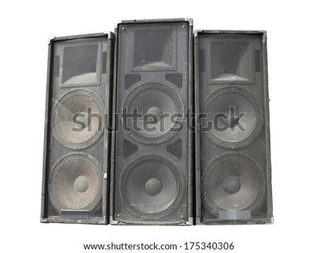 Old powerful stage concerto industrial audio speakers isolated on white background - stock photo