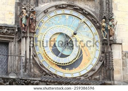 Old Prague astronomical clock - stock photo