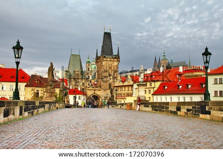 old Prague, famous Charles bridge - stock photo