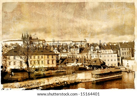 old Prague - photo in retro style