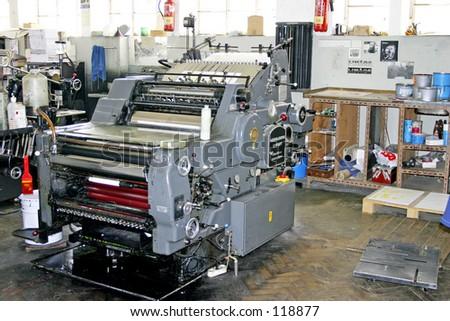 Old press machine - stock photo