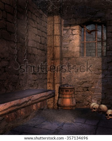 Old prison cell with chains, skulls and cobwebs - stock photo