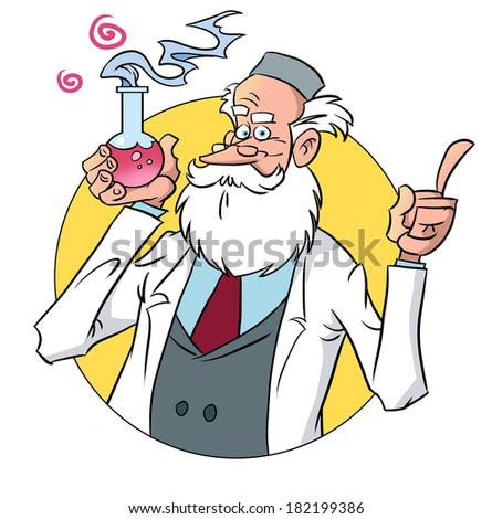 Old professor presents a new chemical solution in the flask - stock photo