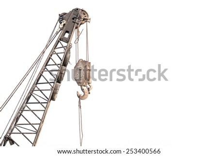 old pulley of tower crane - stock photo