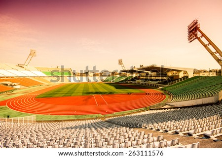 Old Puskas Ferenc football stadion in Budapest, Hungary.  - stock photo