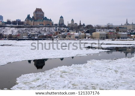 Old Quebec in winter, Canada - stock photo