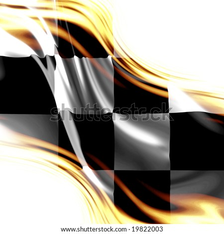old racing flag with some folds in it - stock photo