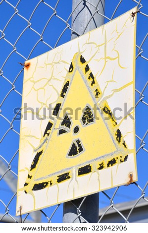 Old Radiation Sign - stock photo