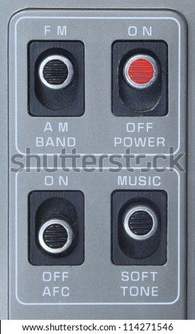 Old radio buttons panel - stock photo