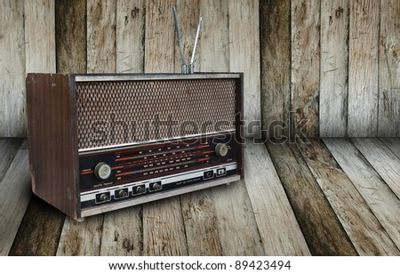 old radio in wooden room