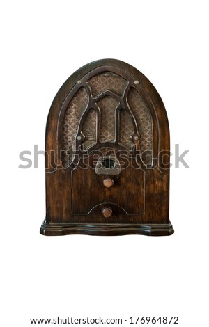 old radio isolate on white background - stock photo