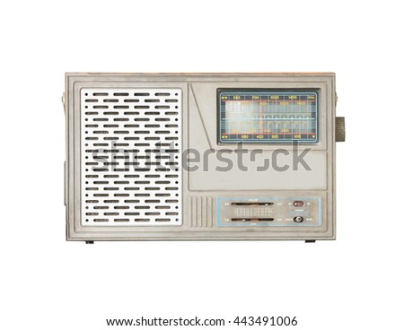 Old radio isolate on white background, with clipping path