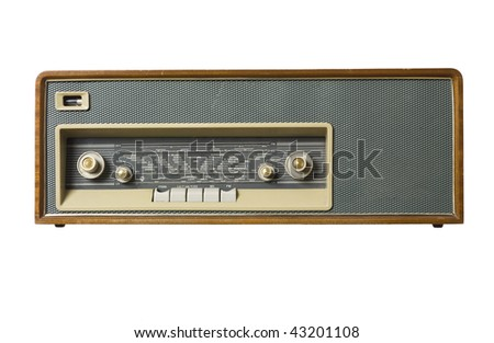 Old radio isolated on a white background - stock photo