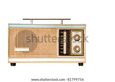 old radio isolated on white background - stock photo