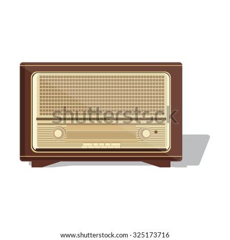 Old radio. raster  illustration of an old radio receiver of the last century. Retro vintage antique radio  - stock photo