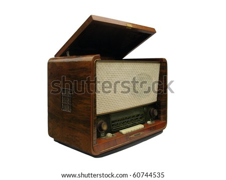 Old radio receiver and record-player of the fifties of XX century isolated on white - stock photo