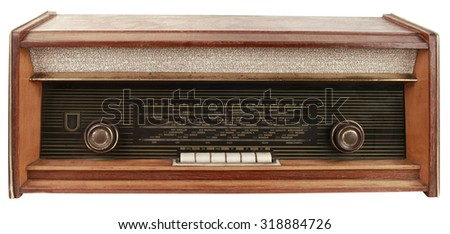 Old Radio Tuner Isolated with Clipping Path - stock photo
