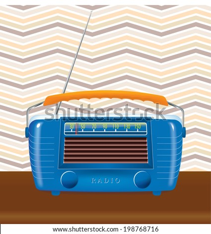 old radio with a retro background