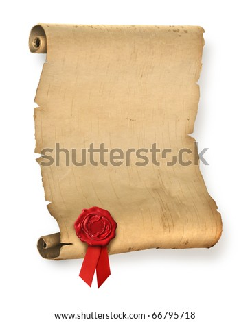 Old ragged parchment roll with red wax seal - stock photo