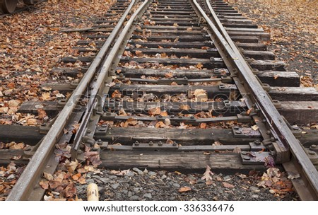 Old railroad track during fall