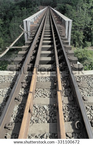 Old Railroad track with vertical composition for symbol or concept in Asia