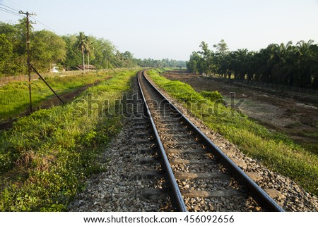 old railroad tracks at railway station, transportation