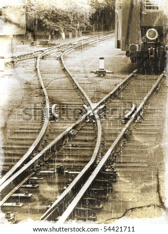 Old railroad with two railway tracks and their intersection (vintage style) - stock photo