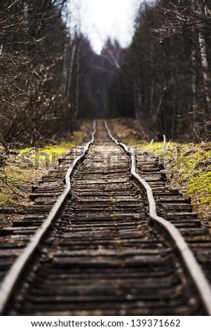 old railway - stock photo