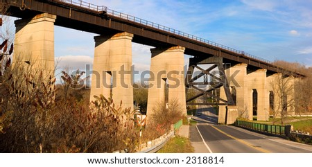 Old Railway Bridge Overpass In St Thomas Ontario, Canada. - stock photo
