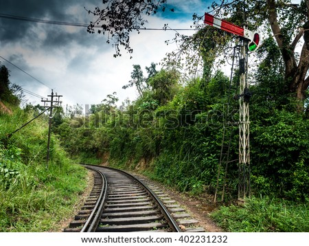 Old railway in Sri Lanka and the old semaphore for locomotives - stock photo