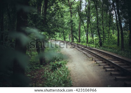 Old railway in the forest - stock photo