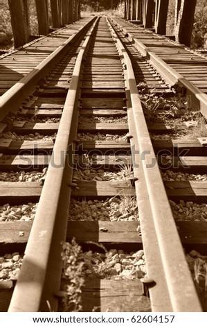Old railway photo - stock photo