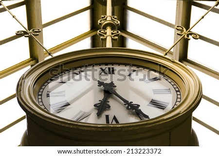 old Railway station clock  - stock photo