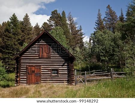 Old Ranger cabin in Glacier National Park in Montana - stock photo