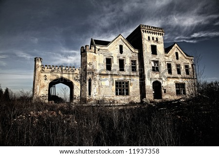 old ravaged building - stock photo