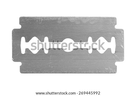 old razor shaving blade isolate on white background - stock photo