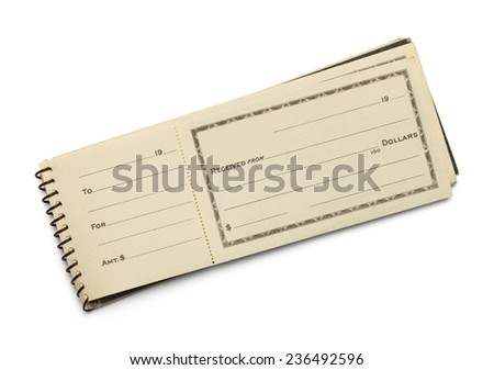 Old Receipt Book with Copy Space Isolated on White Background. - stock photo