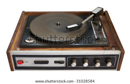 old record-player isolated on white background with clipping path - stock photo